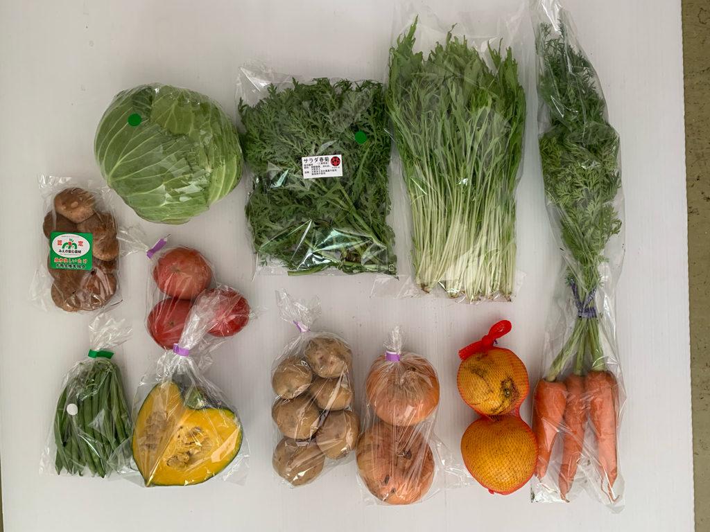 トマト、キャベツ、水菜、春菊、いんげん、葉付き人参、かぼちゃ、じゃがいも(キタアカリ)、玉ねぎ、生しいたけ、河内晩柑。