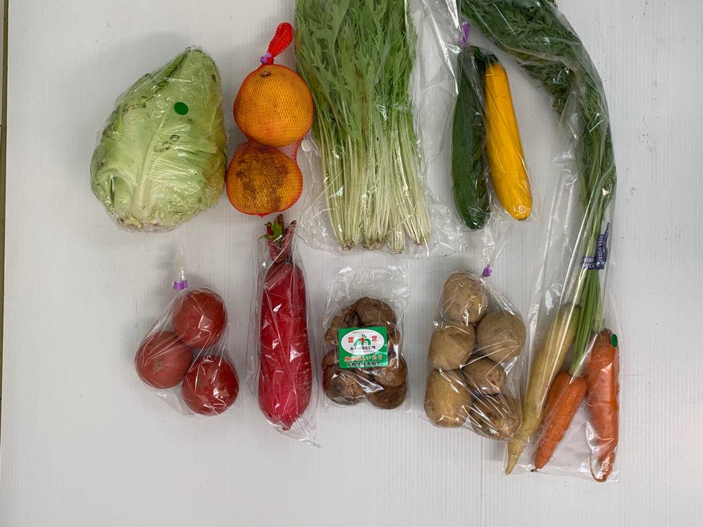 トマト、キャベツ、水菜、葉付き人参、ズッキーニ、赤大根、じゃがいも(キタアカリ)、生しいたけ、河内晩柑、
